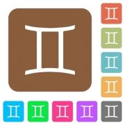 Gemini zodiac symbol flat icons on rounded square vivid color backgrounds. - Gemini zodiac symbol rounded square flat icons - Large thumbnail