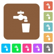 Drinking water flat icons on rounded square vivid color backgrounds. - Drinking water rounded square flat icons - Large thumbnail