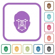Face recognition simple icons in color rounded square frames on white background - Face recognition simple icons - Large thumbnail