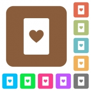 Heart card symbol flat icons on rounded square vivid color backgrounds. - Heart card symbol rounded square flat icons - Large thumbnail