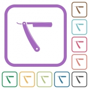 Straight razor simple icons in color rounded square frames on white background - Straight razor simple icons