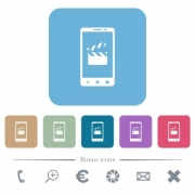 Smartphone film cut white flat icons on color rounded square backgrounds - Smartphone film cut rounded square flat icons