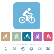 Bicycle with rider white flat icons on color rounded square backgrounds - Bicycle with rider rounded square flat icons - Large thumbnail