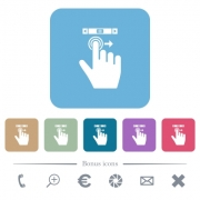 right handed scroll right gesture white flat icons on color rounded square backgrounds - right handed scroll right gesture rounded square flat icons - Large thumbnail