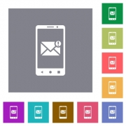 Smartphone incoming message flat icons on simple color square backgrounds - Smartphone incoming message square flat icons