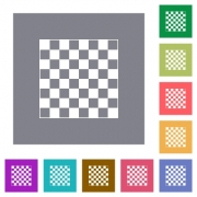 Chess board flat icons on simple color square backgrounds - Chess board square flat icons