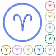 Aries zodiac symbol flat color vector icons with shadows in round outlines on white background - Aries zodiac symbol icons with shadows and outlines