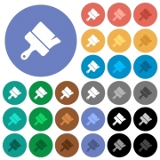 Paint brush multi colored flat icons on round backgrounds. Included white, light and dark icon variations for hover and active status effects, and bonus shades. - Paint brush round flat multi colored icons - Large thumbnail