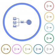 Network address translation flat color vector icons with shadows in round outlines on white background - Network address translation icons with shadows and outlines