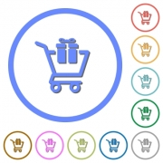 Gift shopping flat color vector icons with shadows in round outlines on white background - Gift shopping icons with shadows and outlines - Large thumbnail