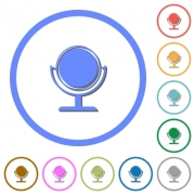 Desk mirror flat color vector icons with shadows in round outlines on white background - Desk mirror icons with shadows and outlines - Large thumbnail