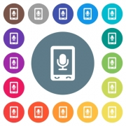 Mobile recording flat white icons on round color backgrounds. 17 background color variations are included. - Mobile recording flat white icons on round color backgrounds