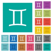 Gemini zodiac symbol multi colored flat icons on plain square backgrounds. Included white and darker icon variations for hover or active effects. - Gemini zodiac symbol square flat multi colored icons
