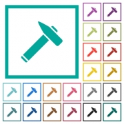 Old hammer flat color icons with quadrant frames on white background - Old hammer flat color icons with quadrant frames - Large thumbnail