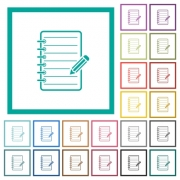 Spiral notepad with pencil flat color icons with quadrant frames on white background - Spiral notepad with pencil flat color icons with quadrant frames - Large thumbnail