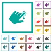 Left handed slide down gesture flat color icons with quadrant frames on white background - Left handed slide down gesture flat color icons with quadrant frames - Large thumbnail
