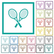 Two tennis rackets flat color icons with quadrant frames on white background - Two tennis rackets flat color icons with quadrant frames - Large thumbnail