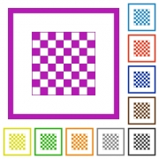 Chess board flat color icons in square frames on white background - Chess board flat framed icons
