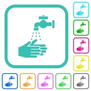 Hand washing vivid colored flat icons in curved borders on white background - Hand washing vivid colored flat icons - Large thumbnail