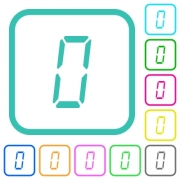 digital number zero of seven segment type vivid colored flat icons in curved borders on white background - digital number zero of seven segment type vivid colored flat icons - Large thumbnail