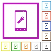 Mobile flashlight flat color icons in square frames on white background - Mobile flashlight flat framed icons