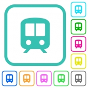Train vivid colored flat icons in curved borders on white background - Train vivid colored flat icons - Large thumbnail