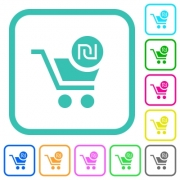 Checkout with new Shekel cart vivid colored flat icons in curved borders on white background - Checkout with new Shekel cart vivid colored flat icons - Large thumbnail