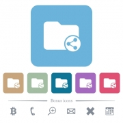 Share directory white flat icons on color rounded square backgrounds - Share directory rounded square flat icons