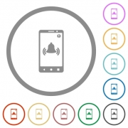 Mobile push notification flat color icons in round outlines on white background - Mobile push notification flat icons with outlines