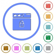 Browser secure flat color vector icons with shadows in round outlines on white background - Browser secure icons with shadows and outlines