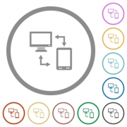 Connecting mobile to desktop flat color icons in round outlines on white background - Connecting mobile to desktop flat icons with outlines