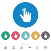 right handed clicking gesture flat white icons on round color backgrounds. 6 bonus icons included. - right handed clicking gesture flat round icons