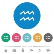 aquarius zodiac symbol flat white icons on round color backgrounds. 6 bonus icons included. - aquarius zodiac symbol flat round icons