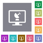 Remote desktop flat icons on simple color square backgrounds - Remote desktop square flat icons