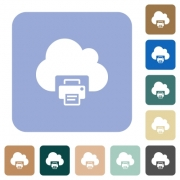 Cloud printing white flat icons on color rounded square backgrounds - Cloud printing rounded square flat icons