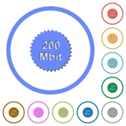 200 mbit guarantee sticker flat color vector icons with shadows in round outlines on white background - 200 mbit guarantee sticker icons with shadows and outlines