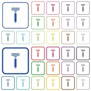 Razor color flat icons in rounded square frames. Thin and thick versions included. - Razor outlined flat color icons