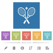 Tennis rackets with ball flat white icons in square backgrounds. 6 bonus icons included. - Tennis rackets with ball flat white icons in square backgrounds