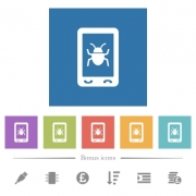 Malicious mobile software flat white icons in square backgrounds. 6 bonus icons included. - Malicious mobile software flat white icons in square backgrounds