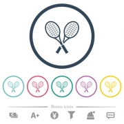 Two tennis rackets flat color icons in round outlines. 6 bonus icons included. - Two tennis rackets flat color icons in round outlines