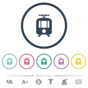 Tram flat color icons in round outlines. 6 bonus icons included. - Tram flat color icons in round outlines - Large thumbnail