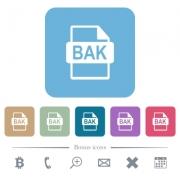 BAK file format white flat icons on color rounded square backgrounds. 6 bonus icons included - BAK file format flat icons on color rounded square backgrounds - Large thumbnail