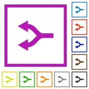 Split arrows left flat color icons in square frames on white background - Split arrows left flat framed icons