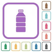 Water bottle simple icons in color rounded square frames on white background - Water bottle simple icons - Large thumbnail