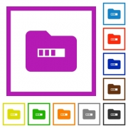 Processing folder flat color icons in square frames on white background - Processing folder flat framed icons - Large thumbnail