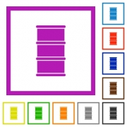 Barrel flat color icons in square frames on white background - Barrel flat framed icons - Large thumbnail
