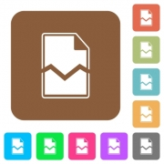 Broken page flat icons on rounded square vivid color backgrounds. - Broken page rounded square flat icons - Large thumbnail