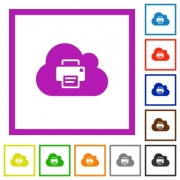 Cloud printing flat color icons in square frames on white background - Cloud printing flat framed icons