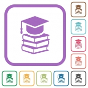 Graduation cap with books simple icons in color rounded square frames on white background - Graduation cap with books simple icons - Large thumbnail