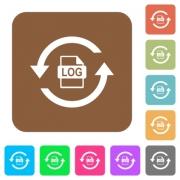 Log file rotation flat icons on rounded square vivid color backgrounds. - Log file rotation rounded square flat icons - Large thumbnail